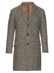 Brunello Cucinelli Wool And Cashmere Blend Herringbone Coat Grey Multi