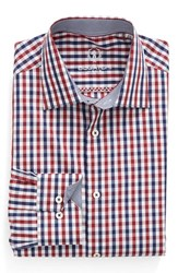 Bugatchi Men's Big And Tall Trim Fit Check Dress Shirt Wine