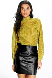 Boohoo High Neck Lace Tassel Trim Blouse Olive