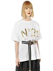 N 21 Metallic Logo Printed Cotton T Shirt White Gold