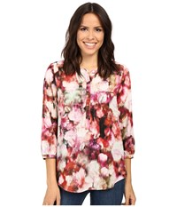 Nydj 3 4 Sleeve Pleat Back Renaissance Floral Foxglove Women's Blouse Multi