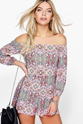 Boohoo Paisley Print Off Shoulder Playsuit Multi