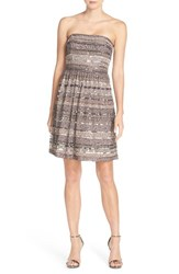 Adrianna Papell Women's Embellished Mesh Fit And Flare Dress Stone