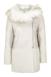 Contrast Shearling Coat By Glamorous Cream