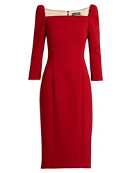 Dolce And Gabbana Square Neck Stretch Wool Pencil Dress Red