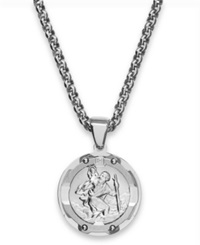 Macy's Round St. Christopher Diamond Pendant In Stainless Steel