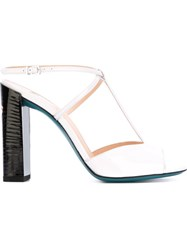 Fendi T Bar Sandals White