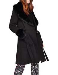 Miss Selfridge Faux Fur Trim Wrap Coat Black