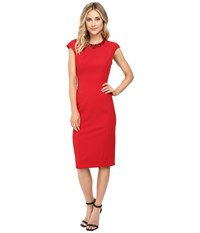 Maggy London Crepe Scuba Sheath Dress With Embellished Neck New Red Women's Dress