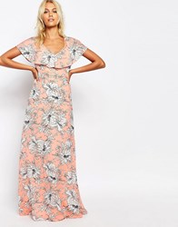 Fashion Union Maxi Dress With Strappy Back Detial In Floral Print Pink