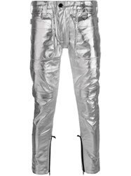 Ktz Metallic Skinny Trousers Grey