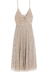 Valentino Sequined Tulle Midi Dress Silver