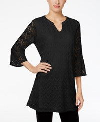 Styleandco. Style Co. Petite Lace Bell Sleeve Tunic Only At Macy's Deep Black