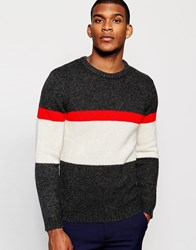 Reiss Lambswool Colour Block Knitted Crew Neck Jumper Black