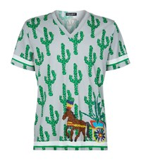 Dolce And Gabbana Cactus Horse Print V Neck T Shirt Male Green