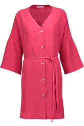 Equipment Cosmo Washed Silk Mini Dress Bright Pink