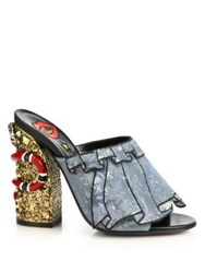 Gucci Owen Trompe L'oeil Sequin Ruffle Mule Sandals Blue Multi
