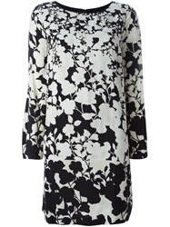 Twin Set Floral Print Long Sleeve Dress Black