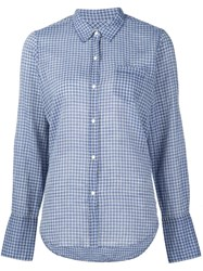 Nili Lotan Chest Pocket Checked Shirt Blue