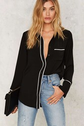 Put It In Your Piping Button Up Blouse Black