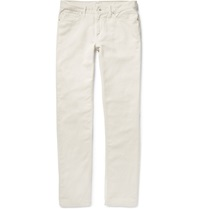 Club Monaco Washed Cotton And Linen Blend Twill Trousers White