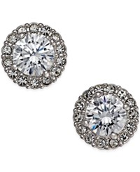 Eliot Danori Silver Tone Framed Crystal Stud Earrings Only At Macy's
