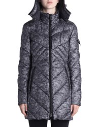 Rainforest Trompe L'oeil Print Puffer Coat