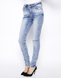 Just Female Acid Wash High Waist Skinny Jeans. Blue