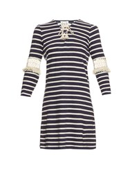 Sea Lace Up Striped Cotton Dress