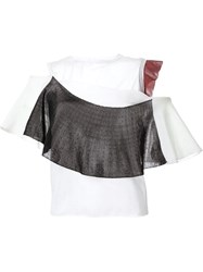 Toga 'Bright' Contrast Ruffle Off Shoulder T Shirt White