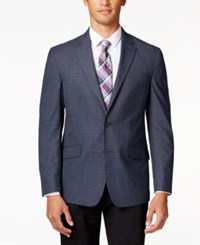Kenneth Cole Reaction Men's Navy Checked Slim Fit Sport Coat Blue