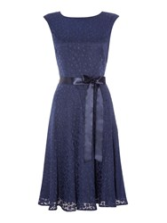 Tahari By Arthur S. Levine Navy Fit And Flare Dress Blue