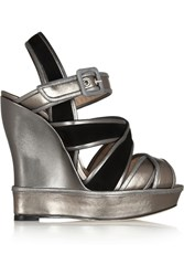 Oscar De La Renta Metallic Leather And Suede Wedge Sandals Black