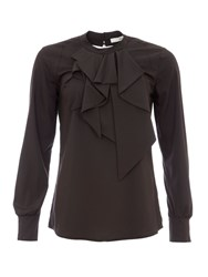 Relish Blouse With Ruffled Neckline Black