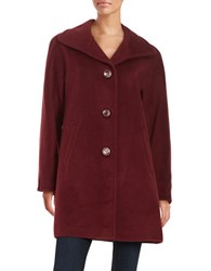 Ellen Tracy Petite Wool Blend Walker Coat Burgundy