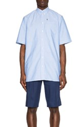 Givenchy Short Sleeve Button Down Shirt In Blue