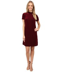 Maggy London Diamond Dot Burnout High Neck Fit And Flare Wine Women's Dress Burgundy