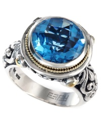 Effy Collection Balissima By Effy Blue Topaz Round Ring In 18K Gold And Sterling Silver 5 3 4 Ct. T.W.
