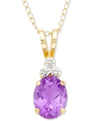 Macy's Amethyst And Diamond Pendant 10K Gold Amethyst And Diamond Oval Pendant