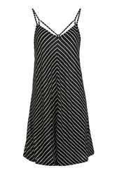 Topshop Chevron Stripe Sundress Black