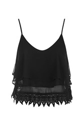 Glamorous Lace Trim Cami Top By Black