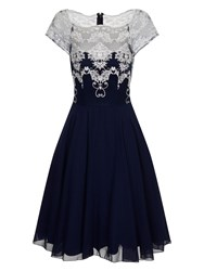 Chi Chi London Metallic Embroidered Bodice Prom Dress Navy