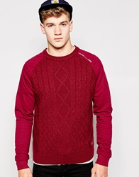 Firetrap Cable Knit Jumper Red