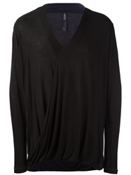 Tom Rebl V Neck Envelope T Shirt Black