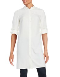 Context Spread Collar Button Down Long Shirt White