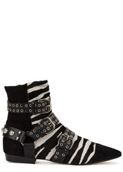 Isabel Marant Zebra Print Calf Hair Boots Black And White