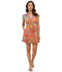 Lauren Ralph Lauren Maharaja Paisley Farrah Dress Cover Up Coral Women's Swimwear