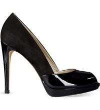 Karen Millen Suede And Patent Leather Peep Toe Courts Black