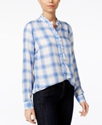 Maison Jules Ruffled Plaid Shirt Only At Macy's Cobalt Glaze Combo