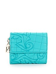 Versace Quilted Leather Bi Fold Wallet Blue